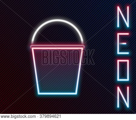 Glowing Neon Line Fire Bucket Icon Isolated On Black Background. Metal Bucket Empty Or With Water Fo