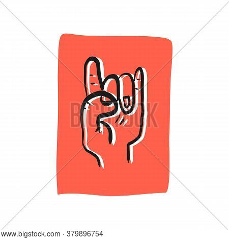 Devil Horns Gesture Hand Drawn Sticker, Label, Banner Design. Rock Or Metal Music Symbol. Vector Iso