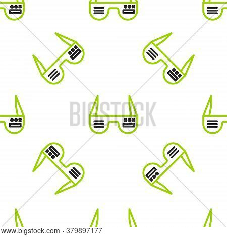 Line Smart Glasses Mounted On Spectacles Icon Isolated Seamless Pattern On White Background. Wearabl