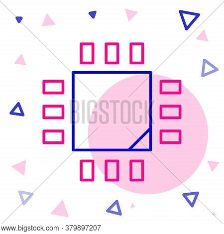 Line Computer Processor With Microcircuits Cpu Icon Isolated On White Background. Chip Or Cpu With C