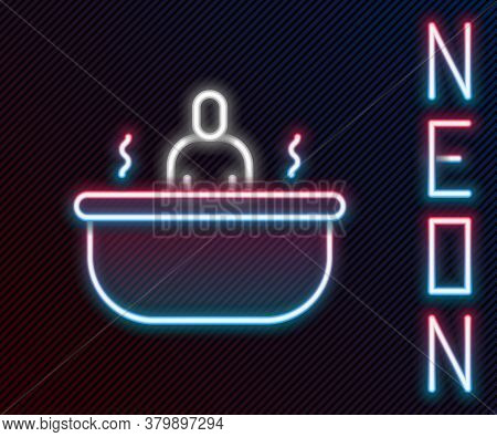 Glowing Neon Line Bathtub Icon Isolated On Black Background. Colorful Outline Concept. Vector Illust