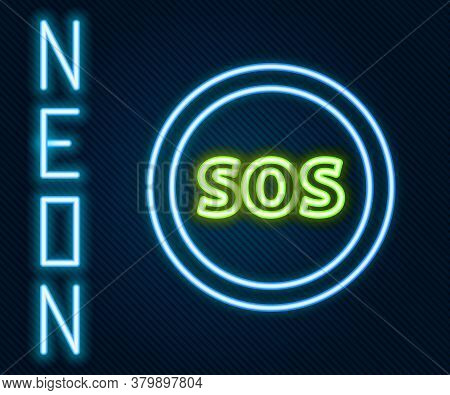 Glowing Neon Line Location With Sos Icon Isolated On Black Background. Sos Call Marker. Map Pointer