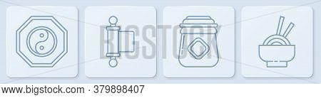 Set Line Yin Yang, Jar Of Honey, Decree, Paper, Parchment, Scroll And Asian Noodles In Bowl. White S