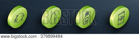 Set Isometric Oil Exchange, Oil Drop, Oil Petrol Test Tube And Bio Fuel Barrel Icon. Vector