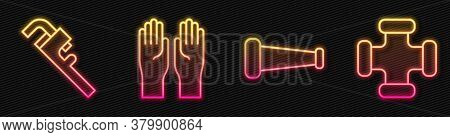 Set Line Industry Metallic Pipe, Pipe Adjustable Wrench, Rubber Gloves And Industry Metallic Pipe. G