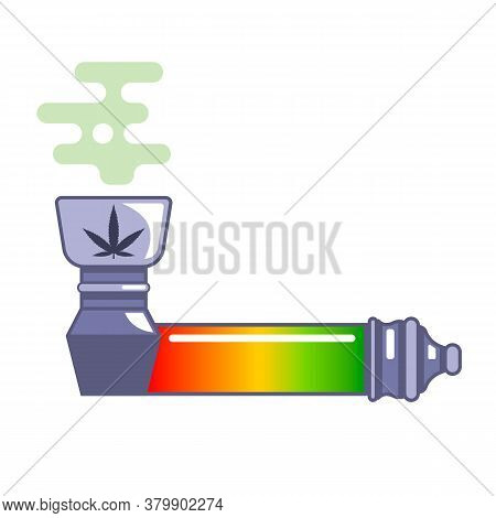 A Pipe For Smoking Medicinal Marijuana. Legalization Of Drugs. Flat Vector Illustration Isolated On
