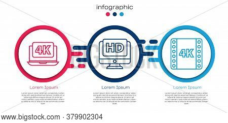 Set Line Laptop With 4k Video, Monitor With Hd Video And 4k Movie, Tape, Frame. Business Infographic