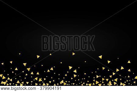 Golden Shine Light Black Background. Isolated Confetti Banner. Yellow Glow Abstract Card. Shards Hol