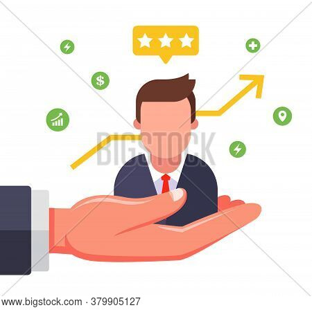 A Valuable Employee On The Boss Hand. Find A Good Manager. Flat Vector Illustration Isolated On Whit