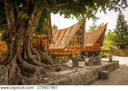 Traditional Bataknese Houses At Samosir, Lake Toba, Sumatra Indonesia