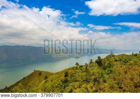 Looking South On The Largest Volcanic Crater Lake In The World, Lake Toba, North Sumatra, Indonesia