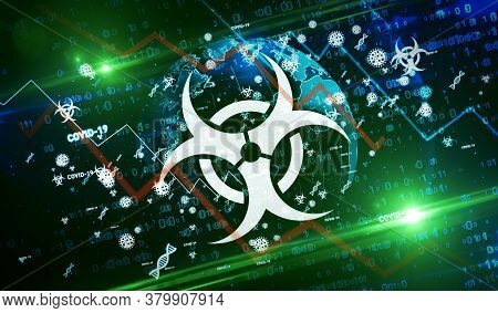 Covid-19 Virus Global Epidemic Symbols 3d Illustration. Abstract Sars-cov-2 And Coronavirus Concept