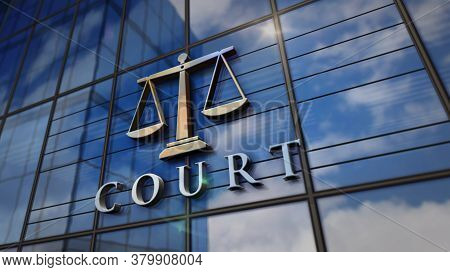 Court With A Symbol Of Weight On Glass Building. Mirrored Sky And City Modern Facade. Justice, Law,