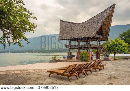 A View Of Lake Toba From The Shore Of Parapat, Samosir Island, North Sumatra, Indonesia