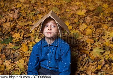 Scared Boy Sitting On Fallen Leaves In Park And Holding Book Over His Head.