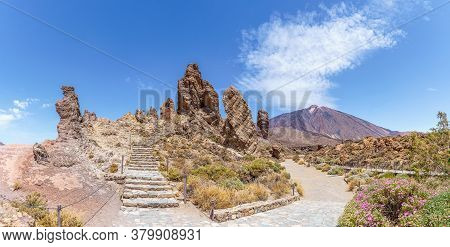 Landscape With Roques De Garcia Formation And Teide Mountain Volcano In Teide National Park, Tenerif