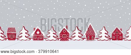 Christmas Background. Gingerbread Village. Seamless Border. Fairytale Winter Landscape. There Are Re