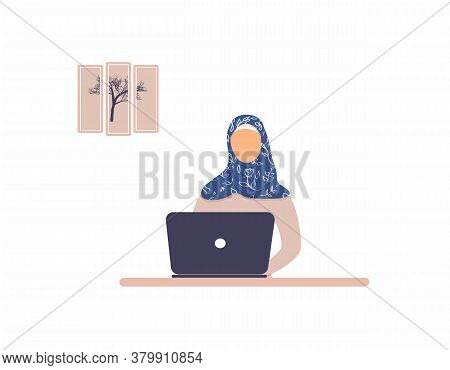 Beautiful Muslim Woman Tutor Work On Laptop.remote Work, Distance Learning Or Online Training During