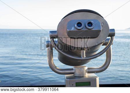 Binoculars On The Observation Platform At Lake Baikal, Listvyanka.