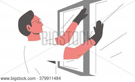 Worker Installing A Window. Vector Illustration Of A Male Constructor In Glasses And Gloves Fixing,