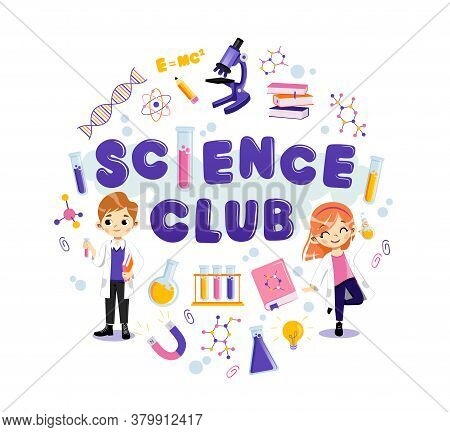 Two Young Characters With Science Club Equipment On White Background. Male And Female Teens Wearing