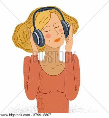 Young Woman Listening To Music In Headphones Vector Illustration Isolated On White, Girl Is Enjoying