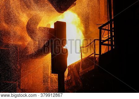 Steel Production In Electric Furnaces. Sparks Of Molten Steel. Electric Arc Furnace Shop Eaf. Metall