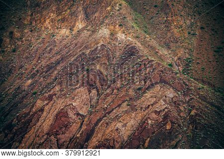 Nature Background Of Clay Mountain Wall Closeup. Nature Texture Of Precipice. Natural Backdrop Of Cl