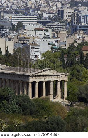 Athens, Greece - August 13 2016: View From The Top Of The Temple Of Hephaestus With Athens Cityscape