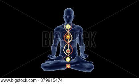 3d Illustration With A Silhouette In An Enlightened Yoga Meditation Pose With The Hindu Chakras On S