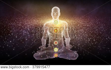 3d Illustration With A Silhouette In An Enlightened Yoga Meditation Pose With The Hindu Chakras Over