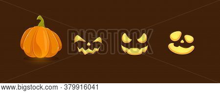 Set Of Pumpkin Smiles On Black Background. Set Of Halloween Elements. Scary Illustration Can Be Used