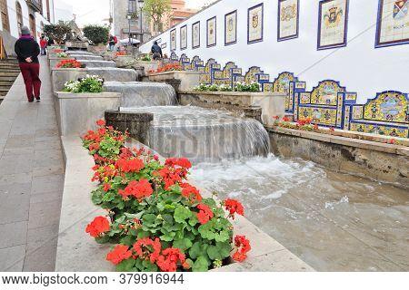 Gran Canaria, Spain - November 29, 2015: People Visit Firgas Old Town In Gran Canaria, Spain. Canary
