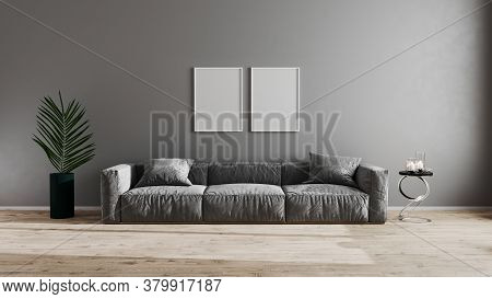 Blank Poster Frames In Bright Modern Living Room With Gray Sofa, Green Plant And Coffee Table On Woo