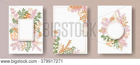 Wild Herb Twigs, Tree Branches, Flowers Floral Invitation Cards Collection. Bouquet Wreath Retro Inv