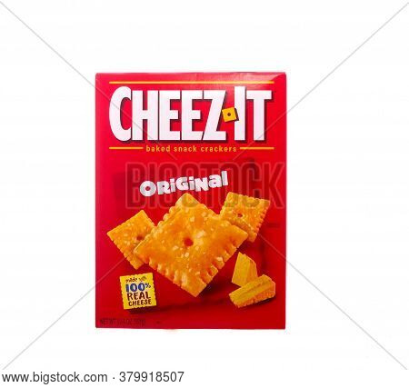 A Box Of Original Cheez-it Crackers Isolated On White
