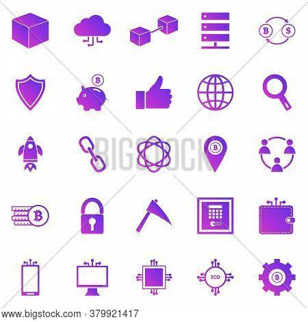 Blockchain Gradient Icons On White Background, Stock Vector