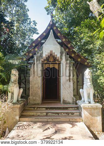 Phayao, Thailand - Dec 8, 2019: Chayopas Church And Thai Lion In Analayo Temple At Phayao Thailand O
