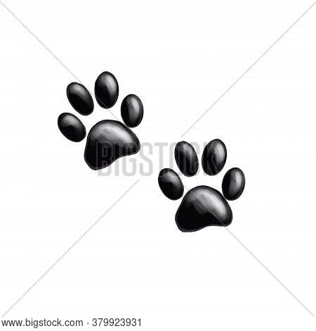 Dog Or Cat Paw Print Graphic Illustration. Cute Animal Element For Decoration, Design, Craft Project