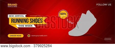 Running shoes and web template, Accessory shop social media posts mockup. Shoes, bags, jewelry. Ad web banner template. Social network booster, content layout. Isolated promotion border, headlines, linear icons