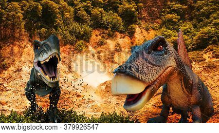 Dinosaurs At Abstract Nature Background. Prehistory Concept