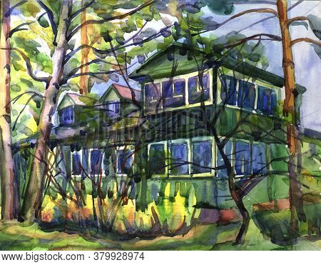 Rural Dacha House In The Forest. Cozy Summer Landscape Of Russian Dacha. Country Green Two-story Woo