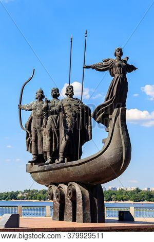 Monument To Founders Of Kiev On The Embankment Of The Dnieper River In Kyiv, Ukraine