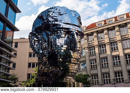 Prague, Czech Republc - July 11 2020: Turning Head Of Franz Kafka In Czech Hlava Franze Kafky Statue