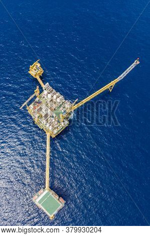 Bird Eye View Of Offshore Oil And Gas Central Processing Platform Which Comprised Of Central Facilit