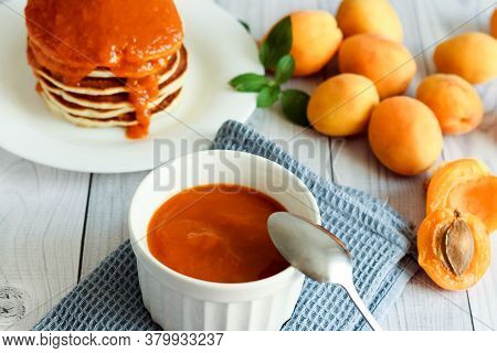 Homemade Apricot Jam. Pancakes With Apricot Jam. Honey, Food. High Quality Photo