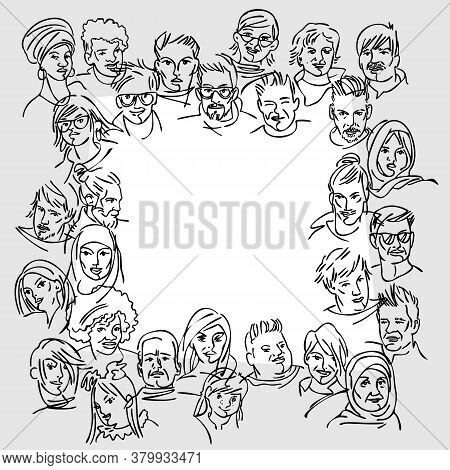 Multicultural Team. Modern Multicultural Society Concept With People. Group Of People. Black And Whi