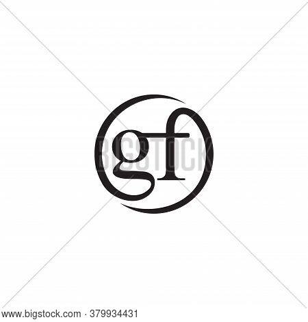 Gf Initial Letters Loop Linked Circle Monogram Logo