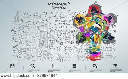 Businessman And Lady Brainstorm Brainstorm Success, Sketch Plan,modern Idea And Concept Vector Illus