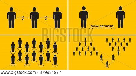 Social Distance People To Protect Against Spread Of Viral Diseases. People Keep Their Distance In Pu
